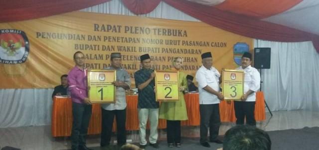 Pengundian No Urut Pasangan Calon Bupati dan Wakil Bupati Pangandaran Tahun 2015